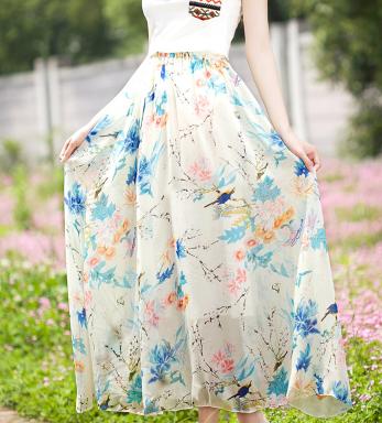 碎花长裙一路到夏天的尾声